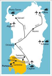 cartina come arrivare portoscuso sud ovest sardegna sulcis iglesiente traghetto auto nave aereo b&b sa cruxitta